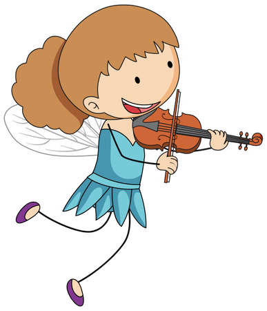 Simple cartoon character of a little fairy playing violin illustration