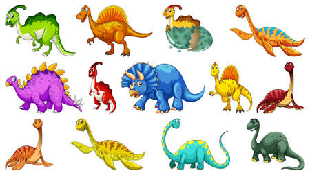 Different dinosaurs cartoon character and fantasy dragons isolated illustration