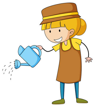 Little gardener doodle cartoon character illustration