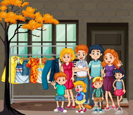 Happy family in the living room scene illustration Vecteurs