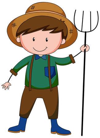 A farmer boy cartoon character isolated illustration