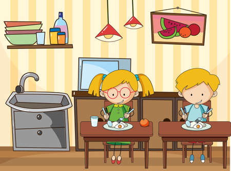 Little kids in the kitchen scene with equipments illustration