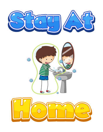 Stay At Home font design with a boy washing his hands on white background illustration