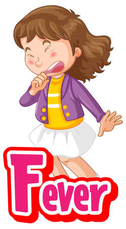 Fever cartoon font with a girl feel sick character isolated on white
