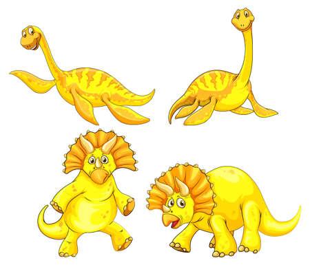 Set of yellow dinosaur cartoon character illustration Ilustração