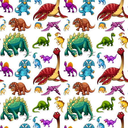 Pattern with various dinosaurs on white