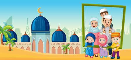 Happy family holding photo frame with mosque Ilustração
