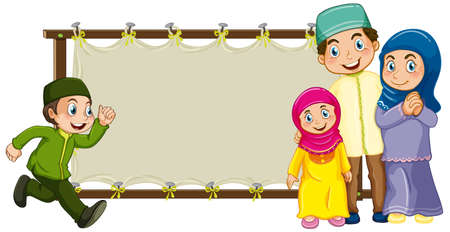 Blank wooden frame with happy muslim family cartoon character illustration