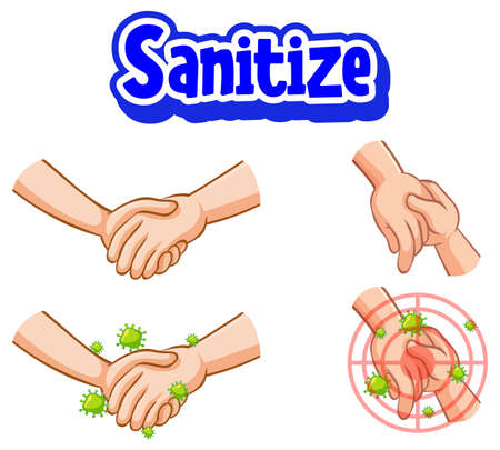 Sanitize font design with virus spreads from shaking hands