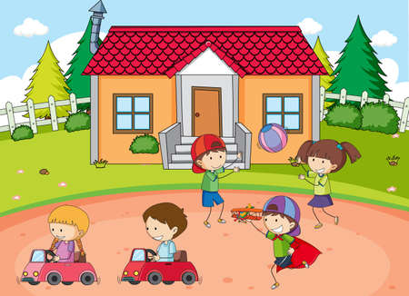 Outdoor park scene with many kids illustration