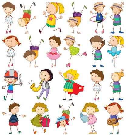 Set of different kids in doodle style illustration Vecteurs