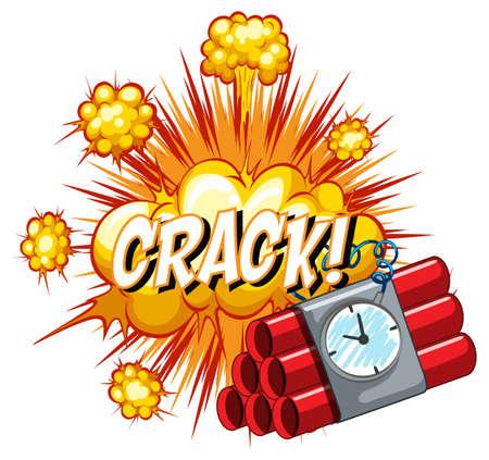 Comic speech bubble with crack text illustration Ilustração