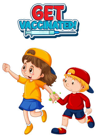 Get Vaccinated font in cartoon style with two kids do not keep social distance isolated on white background illustration