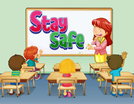 Stay Safe font design on white board in the classroom scene illustration