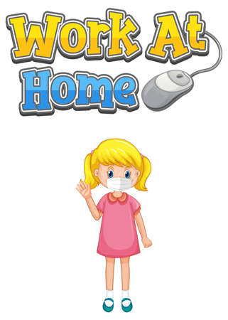 Work At Home font design with a girl wearing medical mask on white background illustration