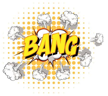 Comic speech bubble with bang text illustration Ilustração