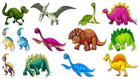 Different dinosaurs cartoon character and fantasy dragons isolated illustration Ilustração