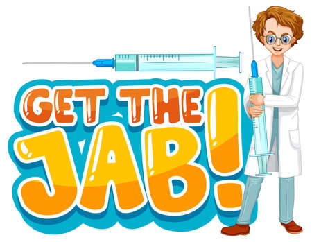 Get the jab font in cartoon style with a doctor man isolated illustration
