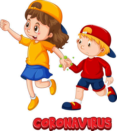 Two kids cartoon character do not keep social distance with Coronavirus font isolated on white background illustration