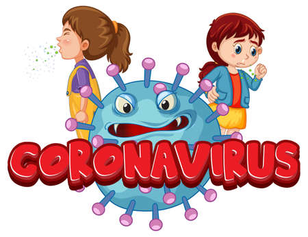 Coronavirus font design with covid19 icon and kids cartoon character isolated on white background illustration