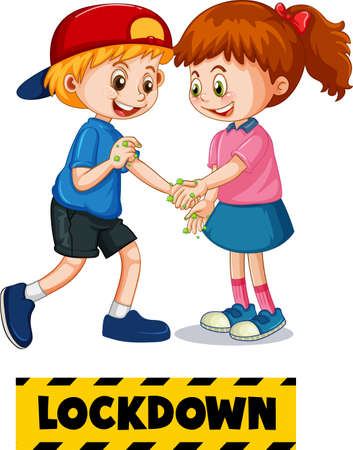 Two kids cartoon character do not keep social distance with Lock down font isolated on white background illustration