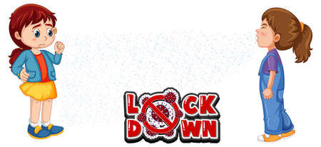 Lock down font in cartoon style with a girl look at her friend sneezing isolated on white background illustration Ilustração