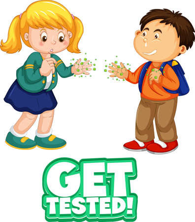 Two kids cartoon character do not keep social distance with Get tested font isolated on white background illustration