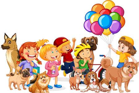 Group of children with their dogs illustration Ilustração