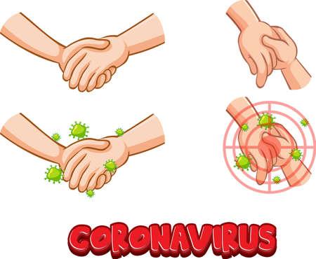 Coronavirus font design with virus spreads from shaking hands on white background illustration