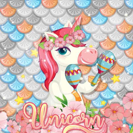 Cute unicorn on rainbow fish scales background illustration