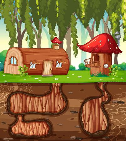 Underground rabbit hole with ground surface of the garden scene illustration Ilustração