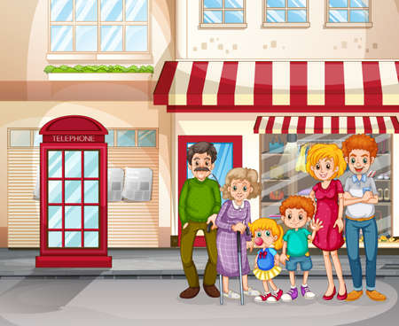 City scene with happy family standing in front of shopping store illustration