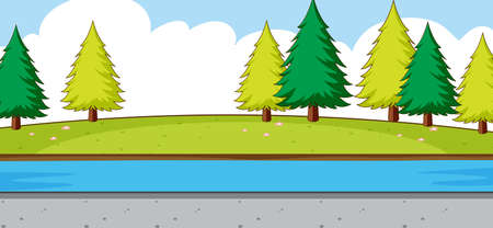 Empty park scene with river in simple style illustration