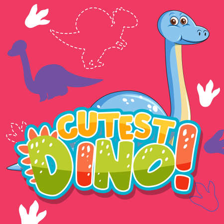 Cute dinosaur character with font design for word Cutest Dino illustration