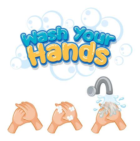 Wash your hands font design with virus spreads from shaking hands on white background illustration Ilustração