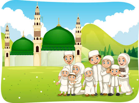 Outdoor scene with muslim family cartoon character illustration