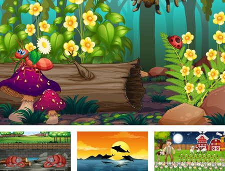 Four different nature horizontal scene  illustration