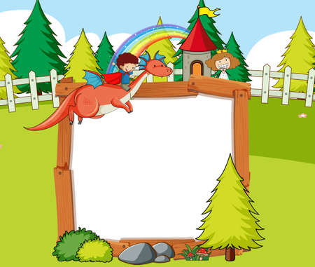 Blank banner in the forest scene with fairy tales cartoon character and elements illustration