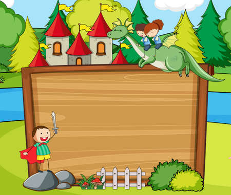 Empty wooden banner in the forest scene with fairy tale cartoon character and elements illustration