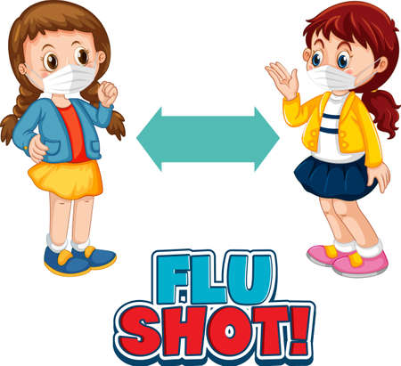 Flu Shot font design with two kids keeping social distance isolated on white background illustration