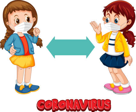 Coronavirus font in cartoon style with two kids keeping social distance isolated on white background illustration Ilustração