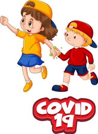 Two kids cartoon character do not keep social distance with Covid-19 font isolated on white background illustration