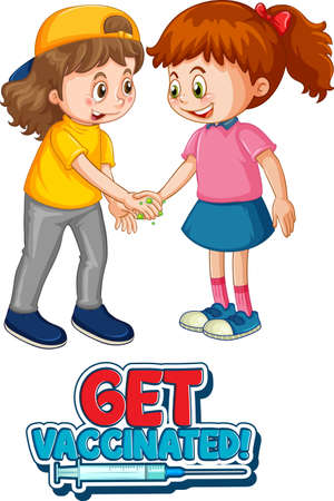 Two kids cartoon character do not keep social distance with Get Vaccinated font isolated on white background illustration Ilustração