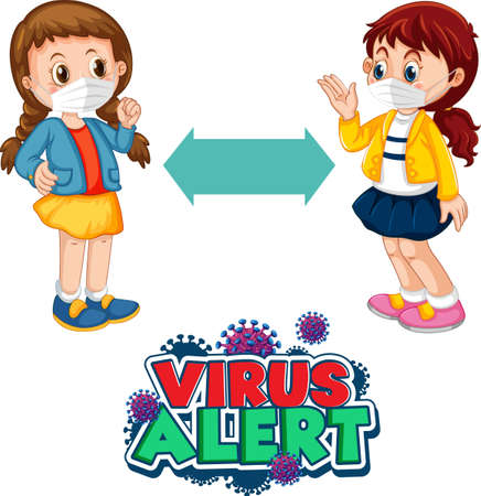 Virus Alert font design with two kids keeping social distance isolated on white background illustration