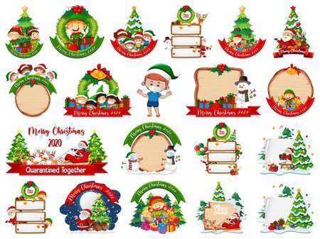 Set of blank Christmas card template isolated on white background illustration Ilustração