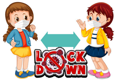 Lock down font in cartoon style with two kids keeping social distance isolated on white background illustration