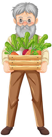 Old farmer man holding wooden crate of vegetable isolated illustration