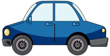 Blue sedan car in cartoon style isolated on white background illustration