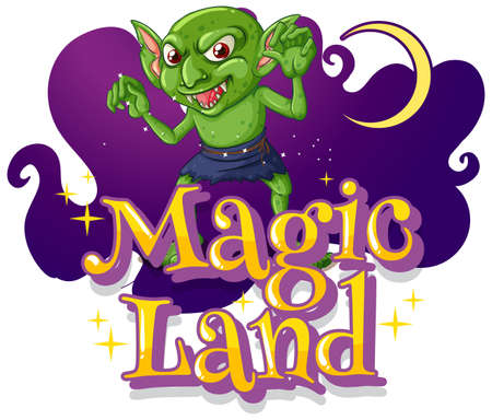 Magic Land font with a goblin cartoon character illustration Ilustração