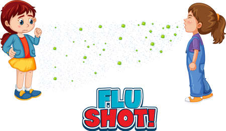 Flu Shot font in cartoon style with a girl look at her friend sneezing isolated on white background illustration